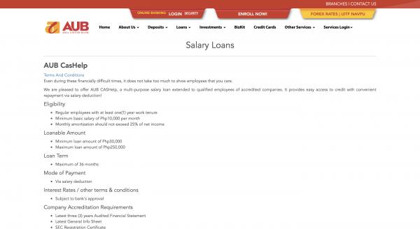 AUB Salary Loan up to ₱250 000