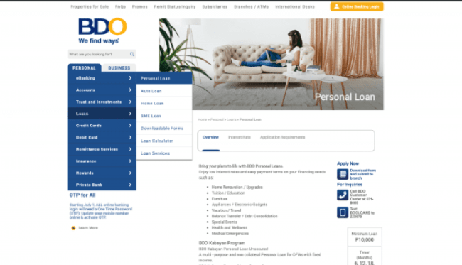 BDO - Loans up to ₱1 000 000
