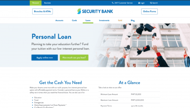 Security Bank - Loans up to ₱2 000 000
